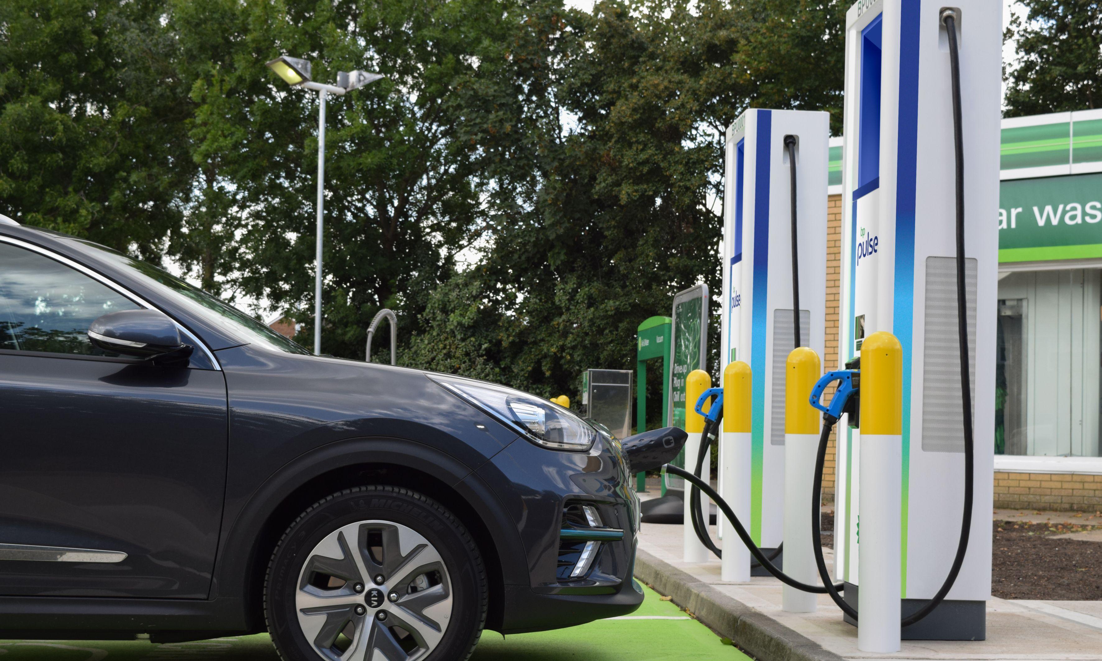 electric car charging at bp pulse electric car charging station